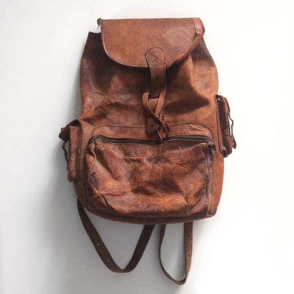 7130a65b19e0 Vintage Handmade Genuine Leather Brown Backpack. M 5ada37b9739d48ae4af64c3b